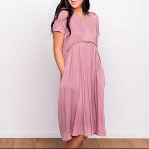 Dresses & Skirts - Pink Mauve Relaxed Peplum / Babydoll T-shirt Dress
